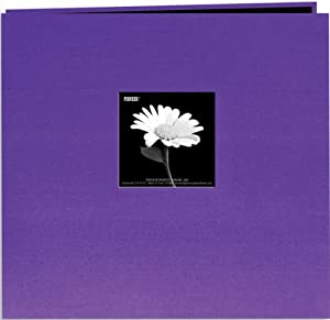 Pioneer 8 Inch by 8 Inch Postbound Fabric Frame Cover Memory Book, Grape Purple