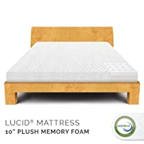 "Hot Sale LUCID® by Linenspa 10"" Memory Foam Plush Viscoelastic Mattress - 100% CertiPUR Foam - 25-Year Warranty"