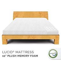 "Big Sale LUCID® by Linenspa 10"" Memory Foam Plush Viscoelastic Mattress - 100% CertiPUR Foam - 25-Year Warranty"