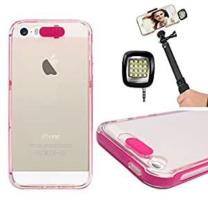 DMG LED Flashing Call Notification TPU Back Cover Case for Apple iphone 5 5S (Pink) + 3.5mm Continuous LED Spotlight Flash