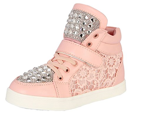 Legend E.C Girls' Lesliee Lovely Lace High Top Sport Sneakers Glitter Rhinestone Skateboard Sneakers Ankle Boots (10, Pink)