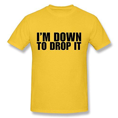 Tasy 100% Cotton Men'S Im Down Drop It Quote T-Shirt - M Gold