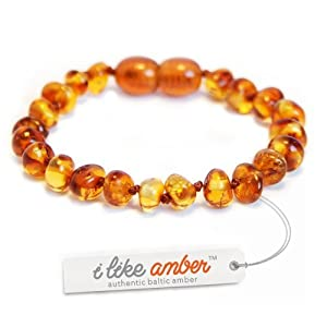 Amber Teething Anklet Bracelet - size from 13 to 18 cm - 100% Polished Genuine Baltic Amber - Top Quality on Amazon + Free Organza Gift Bag - Baby Child CGN.P-BRQ13.5