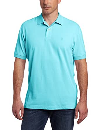 IZOD Men's Short Sleeve Basic Heritage Pique Polo, Blue Radiance, Small