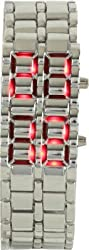 Fengfanglin Stainless Steel Silver Belt Red LED Bracelet Sport Digital silver dial men's/boy's Watch - For Men, Boys