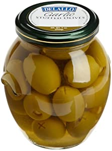DeLallo Garlic Stuffed Olives, 7-Ounce Jars (Pack of 6)
