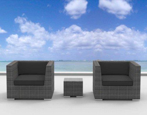 Urban Furnishing - St. Croix 3Pc Modern Outdoor Backyard Wicker Rattan Patio Furniture Sofa Chair Couch Set - Charcoal