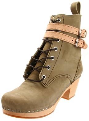 Swedish Hasbeens Women's Combat Ankle Boot,Military Nubuck,6 B US