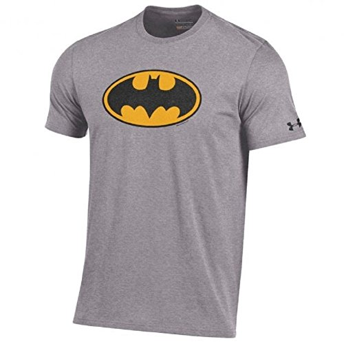 Under Armour Men's-Alter Ego-Batman-Charged Cotton-Performance T-Shirt-True Gray/Black and Yellow Shield-XL