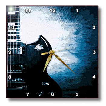 Dpp_100693_1 Florene Music - Abstract Electric Guitar In Blue - Wall Clocks - 10X10 Wall Clock