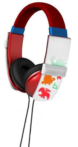 Ihip Ip-Doodle-R Dj Style Erasable Drawing Headphones With Four Built-In Markers, Red