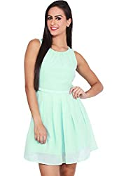 Minty Blue Pleated Skater Dress