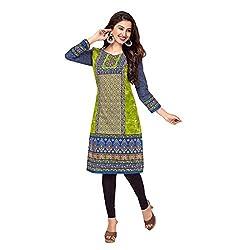 Stylish Girls Women Cotton Printed Unstitched Kurti Fabric (SG_K1019_Blue_Free Size)
