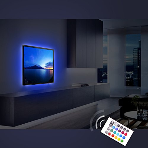 Derlson Bias Lighting for TV. Decorative Light / LED Strip Lights / Backlight Kit / Ambient lighting for Home-Theater ,Under Cabinet , Furniture, Decoration (Multi-Color RGB, Remote Control) (Under Cabinet Led Lighting Kit compare prices)