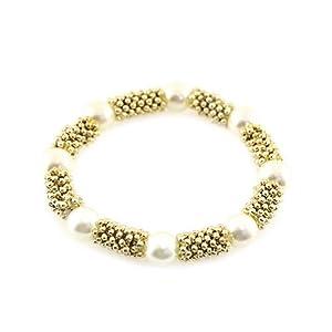 Pearl Station Stretch Bracelet; Gold Metal; Cream Pearls; Stretch;