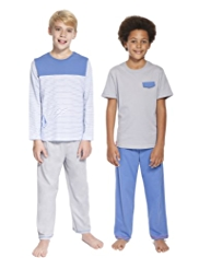 2 Pack Pure Cotton Boat Pyjamas