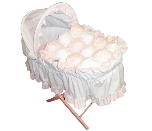 Beautiful Pink Gingham Bubble Moses Basket With Long Skirt & Pink Wooden Folding Stand