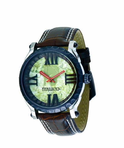 Italico Men's ITCB05-F Colosseum Bronze IP Marbleized Green Dial Leather Watch