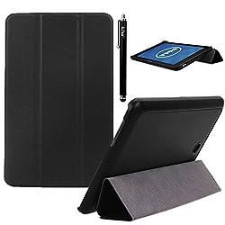 Dell Venue 8 Case, E LV Dell Venue 8 (ANDROID TABLET) Case Cover Full Body Protection TRIFOLD PU LEATHER Smart Case Cover for DELL VENUE 8 - BLACK