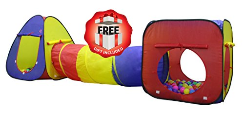 Kiddey 3Pc. Kids Play tent, Cubby-Tunnel-Teepee Pop-up Children Play Tent, ALL IN ONE, Great for Indoor and Outdoor Playhouse By Kiddey™