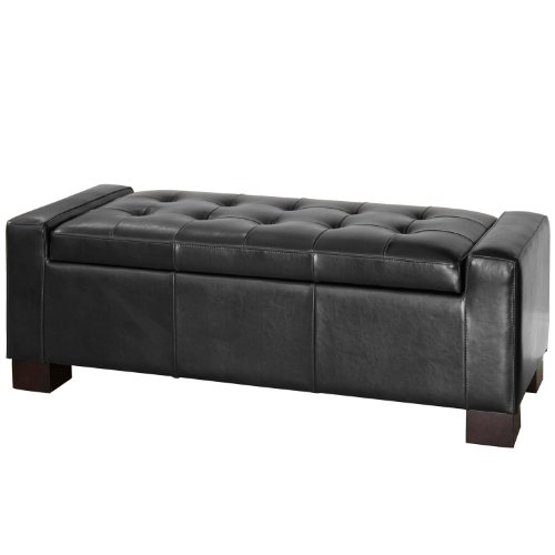 BEST Guernsey Black Leather Storage Ottoman