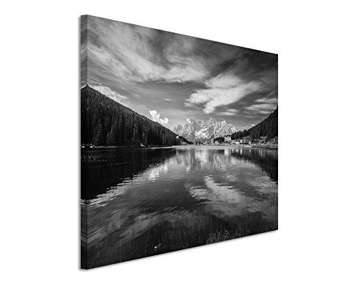 50x70cm Leinwandbild schwarz weiß in Topqualität Misurinasee Gebirge Italien