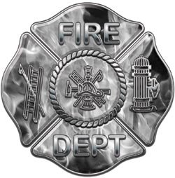Fire Dept Maltese Cross Gray Inferno Flames - 28