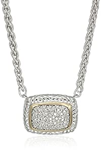 Sterling Silver and 14k Yellow Gold Square Beaded Diamond Pendant Necklace (1/5cttw, I-J Color, I2-I3 Clarity), 18