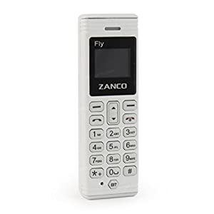 Zanco Fly The Worlds Smallest Mobile Phone with Built in Voice Changer and Bluetooth BT Dialer and Music White Plastic Phone Unlocked SIM Free - Novelty Gift Idea