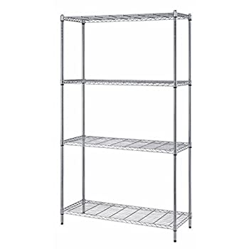 "Quantum Storage Systems RWR72-1848LD 4-Tier Wire Shelving Unit, Chrome Finish, 300 lb. Per Shelf Capacity, 72"" Height x 48"" Width x 18"" Depth"
