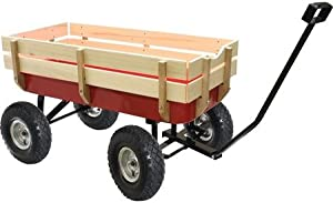 ToolShopUSA Wagon With Wood Rake - Capacity 200 Lbs