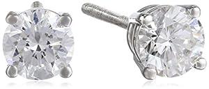 IGI Certified Platinum 4-Prong Diamond Stud Earrings (3/4 cttw, G-H Color, VS2 Clarity)