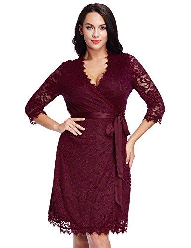 LookbookStore Women's Plus Size Red Lace 3/4 Sleeves Formal True Wrap Dress 5X
