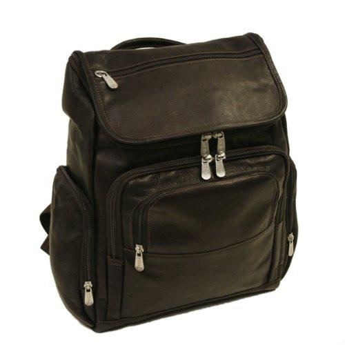 B0041SZ5I4 Piel Leather Multi-Pocket Laptop Backpack, Chocolate, One Size