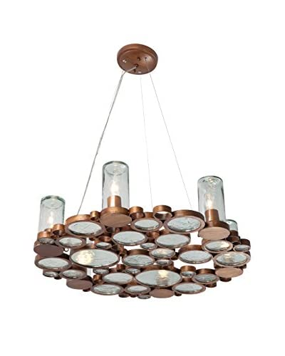Varaluz Fascination 6-Light Chandelier, Hammered Ore/Clear