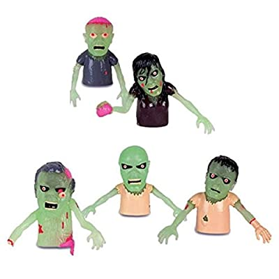 Set of 5 Glow in the Dark Zombie Finger Puppets Halloween Zombies by Accoutrements