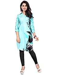 Kyrozz Beautiful Sky Blue Heavy Silk Crepe Digital Printed Kurti