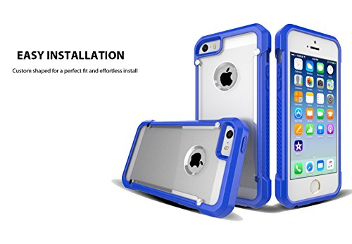 iPhone 5 / 5S / 5SE Case, Sivart Apple Case Shock-Absorption Bumper Anti Scratch Clear Back Ultra Thin Phone Case for iPhone 5S 4 Inch (Blue) (Cool Iphone 4s Back Glass compare prices)