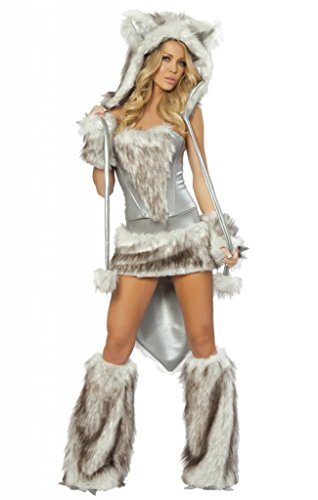 Sexy Twilight Fur Grey Wolf Girl Legwarmers Halloween Accessory