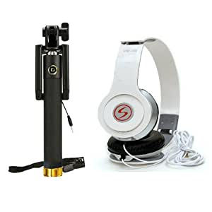 Premium Travel VM46 Headphones+Sefie Stick Aux Compatible with HTC Butterfly 2