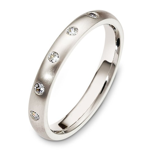 10K White Gold, Modern Anniversary 3MM Wedding Band, 1/8 cttw (sz 4.5)