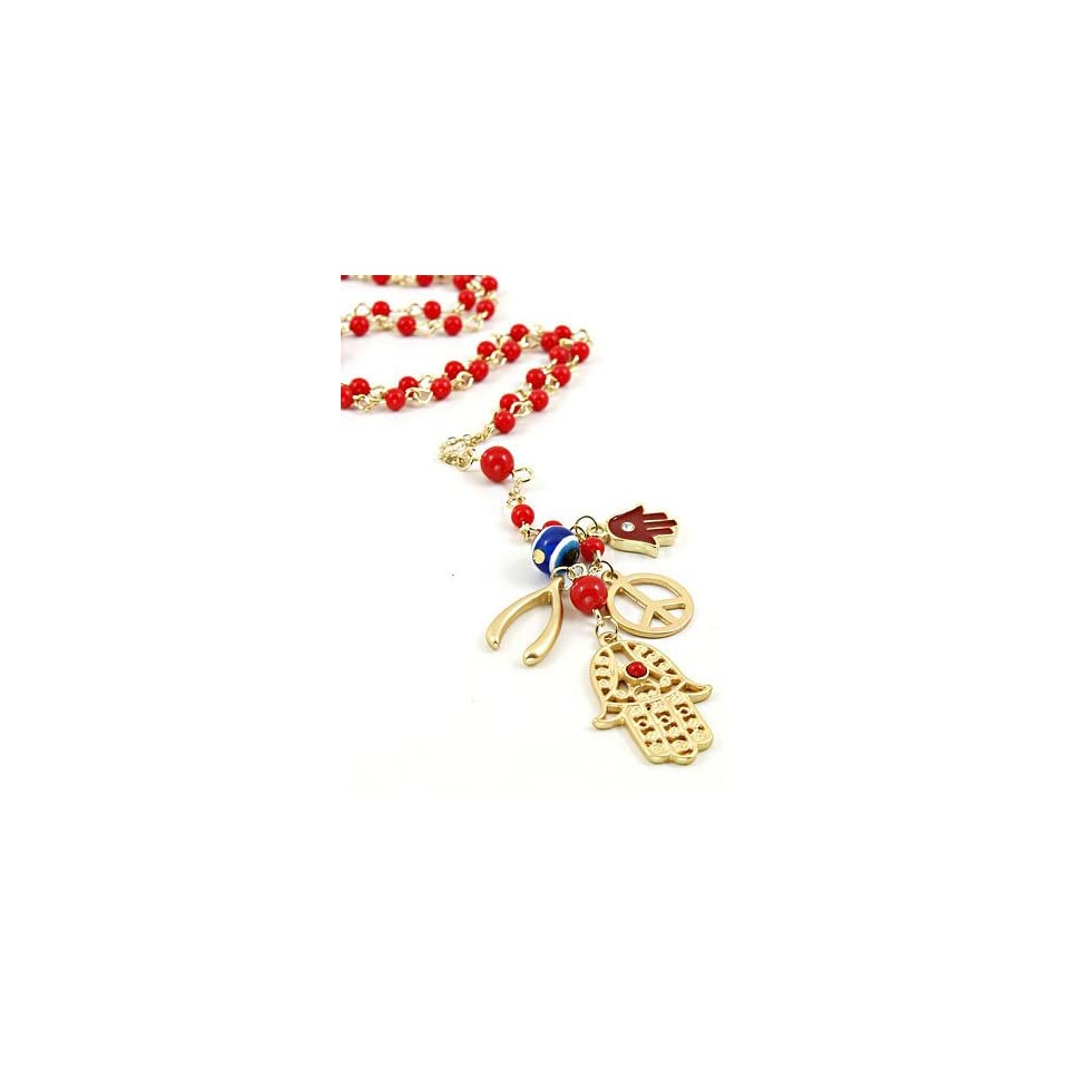 Fashion Jewelry Desinger Inspired Gold with Evil Eye and Hamsa Symbol Necklace Red