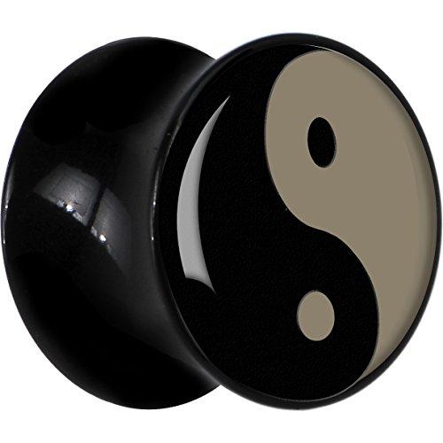 7Mm Black Acrylic Yin Yang Saddle Plug