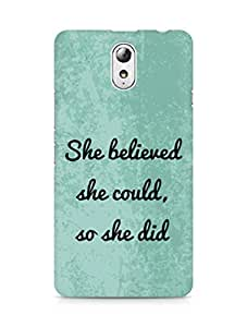 AMEZ she believed she could so she did Back Cover For Lenovo Vibe P1M