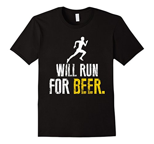 Men's Will Run For Beer Funny Shirt Large Black (Will Run For Beer Shirt compare prices)