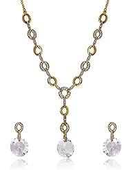 Mahi Crystal Elegant Round Gold Plated Pendant Set For Women NL4101122G