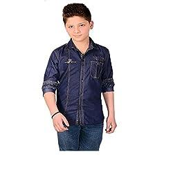 Aedi Little Casual Denim Shirts For Boys (CBLU10270_Blue_34)