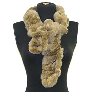 Luxurious & Elegant Angora/rabbit Fur Neck Scarf Wrap--Beige