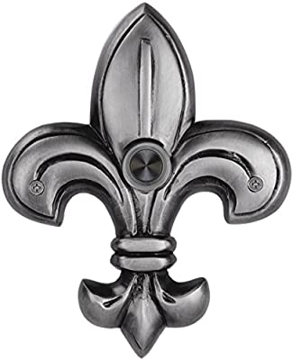 Company's Coming WW182PW Solid Brass Medium Fleur de Lis Doorbell, Pewter