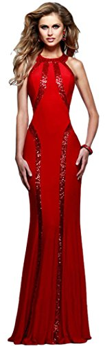 [DH-MS Dress Women's Cyber Monday Sequin Trim Red Jersey Gown Freesize] (Cute Diy Womens Halloween Costume)